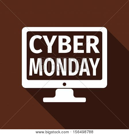 Monitor with Cyber Monday on screen flat icon long shadow. Vector Illustration