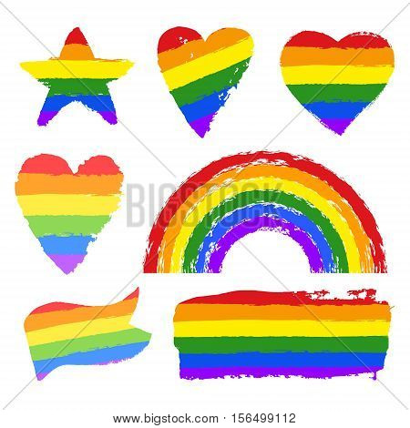 Vector gay pride design elements: flag, rainbow, star, heart, ribbon, smear. LGBT, gay and lesbian pride symbols, icons. Hand drawn paint strokes isolated on white background. LGBT concept.