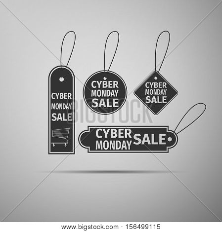 Cyber Monday Sale tag flat icon on grey background. Vector Illustration
