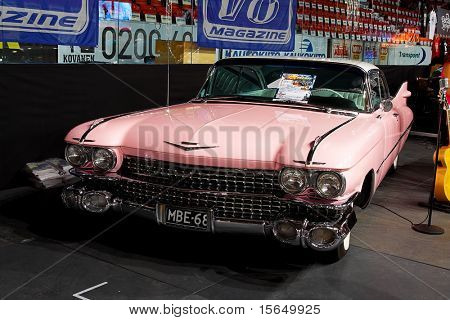 HELSINKI, FINLAND - OCTOBER 3: X-Treme Car Show, showing pink 1959 Cadillac Coupe on October 3, 2009 in Helsinki, Finland
