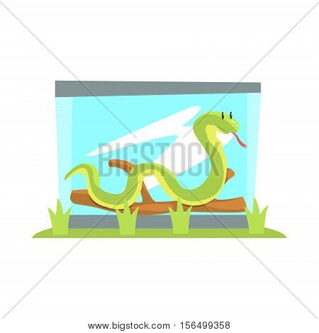 Long Boa Snake In Glass Snake Terrarium In The Zoo With Piece Of Wood. Wild Animal Enclosed In Outdoor Zoological Park Funky Style Illustration On White Background.