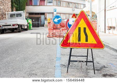 Road Sign Lane Narrowing.