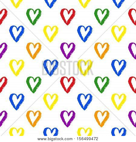 Vector grunge hand drawn colorful abstract seamless pattern with hearts. LGBT, gay and lesbian pride rainbow texture. Vector symbol of gay pride design element.