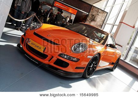 HELSINKI, FINLAND - OCTOBER 3: X-Treme Car Show, showing 2009 Porsche 911 GT3 RS on October 3, 2009 in Helsinki, Finland