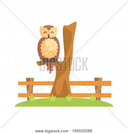 Brown Owl With Fluffy Feather Coat Sleeping On The Tree Branch In Zoo. Wild Animal Enclosed In Outdoor Zoological Park Funky Style Illustration On White Background.