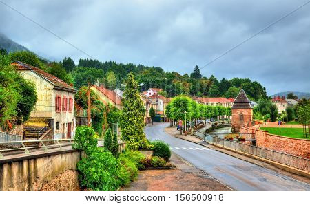 View of Moyenmoutier, a town in the Vosges Department of France, Grand Est Region