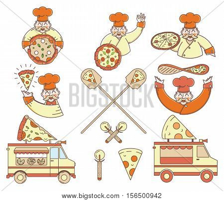 Vector colored pizza bundle for any use