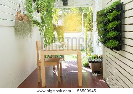 Office place at home Natural Office on tree garden wood table with notebook coffee cup cactus flower at tree garden. Tree pot hang on fence at garden with sunlight effect.