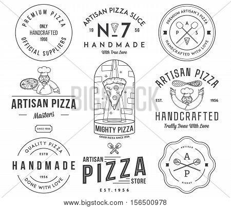 Vector premium quality artisan handmade pizza black on white