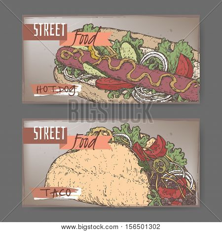 Set of two landscape banners with hot dog and taco color sketch. American and Mexican cuisine. Street food series. Great for market, restaurant, cafe, food label design.