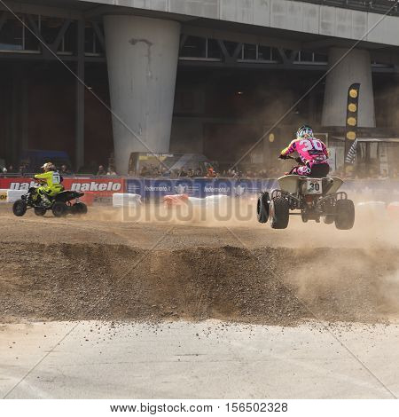 Quadbike Pilots At Eicma 2016 In Milan, Italy
