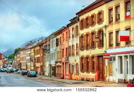 Traditional houses in Senones, a village in the Vosges Department - France, Grand Est Region