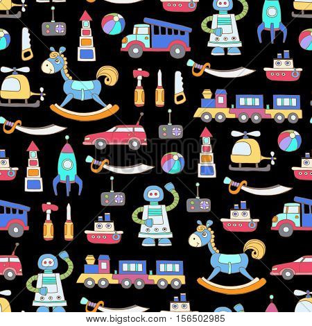 Vector seamless pattern with hand drawn colored toys for boys on black color. Pattern on the theme of activities for children games. Background for use in design, packing, web site, fabric
