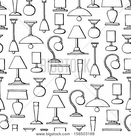 Vector seamless pattern with hand drawn isolated lamps chandeliers on white color. Pattern on the theme of lighting. Background for use in design, packing, web site, fabric