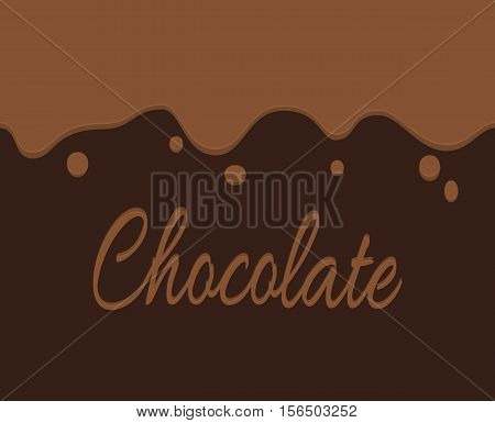 Vector of trickling dark chocolate and label background. Simple illustration banner.