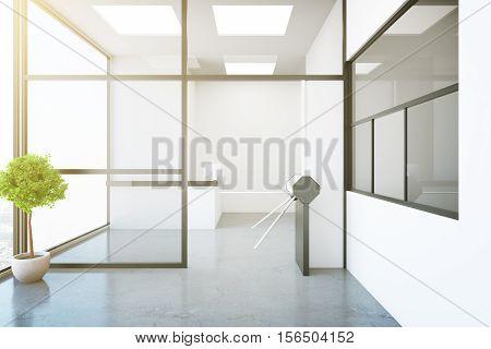 Modern Interior With Turnstile And Reception