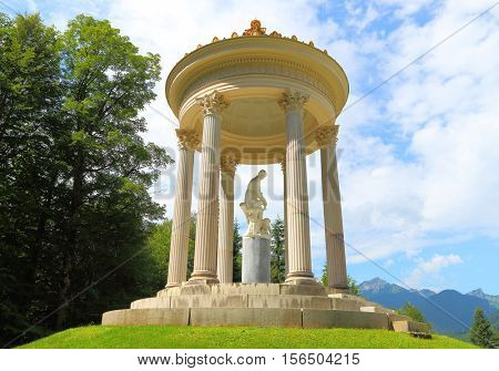 LINDERHOF GERMANY - JULY 8, 2016: A pavillion in Linderhof Palace garden. Castle in southwest Bavaria near Garmisch Partenkirchen. The Castle built by King Ludwig II of Bavaria in 19th century.