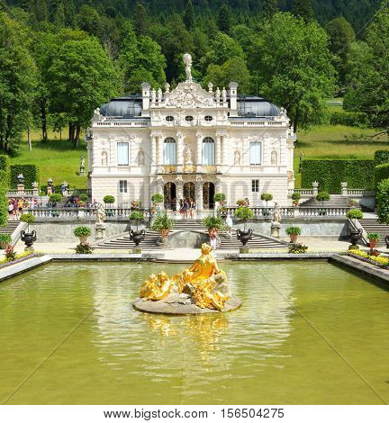 LINDERHOF GERMANY - JULY 8, 2016: Linderhof Palace is a Castle in southwest Bavaria near Garmisch Partenkirchen. The Castle built by King Ludwig II of Bavaria in 19th century.