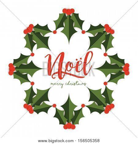 Merry Christmas Card with wreath design