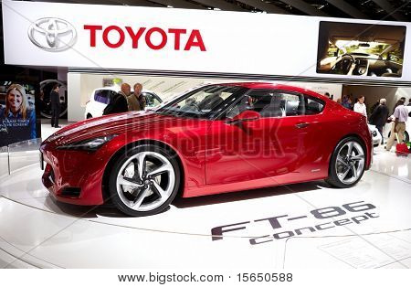PARIS, FRANCE - SEPTEMBER 30: Paris Motor Show on September 30, 2010 in Paris, showing Toyota FT-86 Concept, front-side view