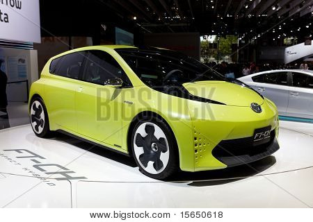PARIS, FRANCE - SEPTEMBER 30: Paris Motor Show on September 30, 2010 in Paris, showing Toyota FT-CH Compact Hybrid, front view