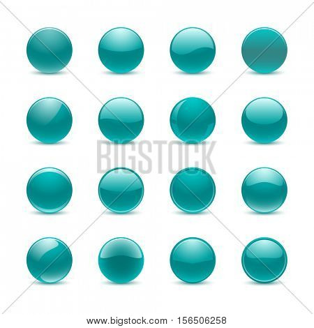 Blank teal round buttons for website or app