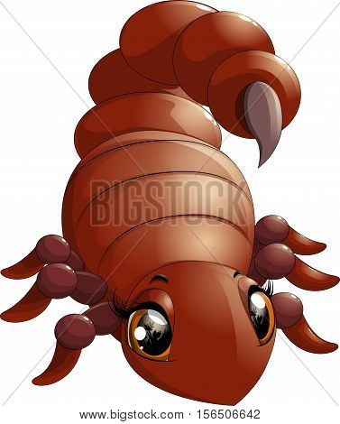 Cute little yellow cartoon scorpion vector illustration.