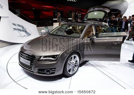 PARIS, FRANCE - SEPTEMBER 30: Paris Motor Show on September 30, 2010 in Paris, showing Audi A7 Sportback, front view
