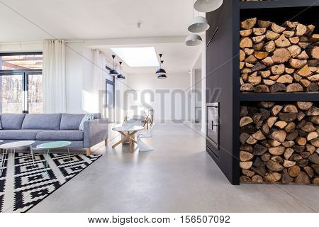 White Living Room In Modern Minimalist House With Concrete Floor