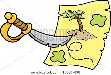 Cartoon illustration of a sword pointing at a treasure map.