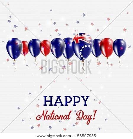 Cook Islands Independence Day Sparkling Patriotic Poster. Happy Independence Day Card With Cook Isla