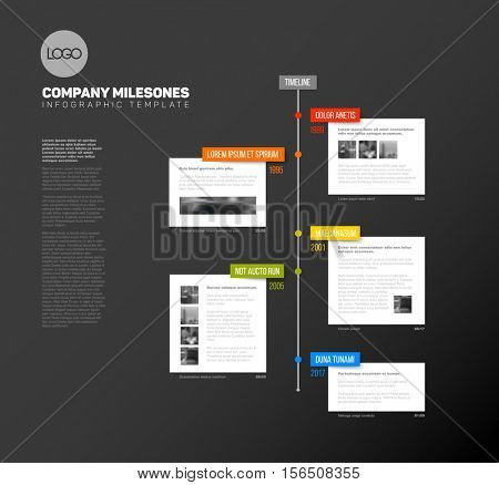 Vector Infographic  timeline report template with the biggest milestones, photos, years and description - dark timeline template version