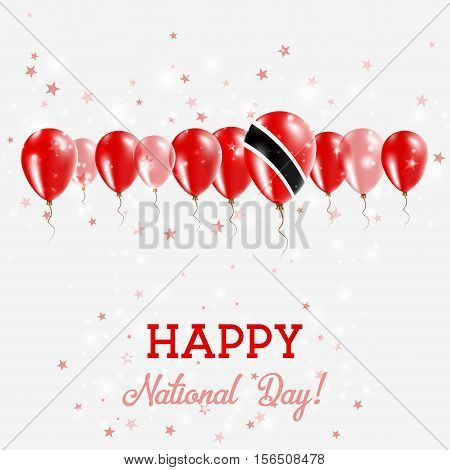 Trinidad And Tobago Independence Day Sparkling Patriotic Poster. Happy Independence Day Card With Tr