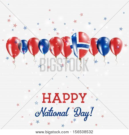 Svalbard And Jan Mayen Independence Day Sparkling Patriotic Poster. Happy Independence Day Card With