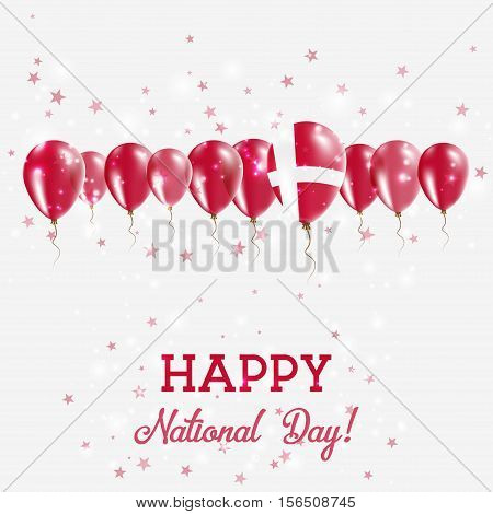 Denmark Independence Day Sparkling Patriotic Poster. Happy Independence Day Card With Denmark Flags,