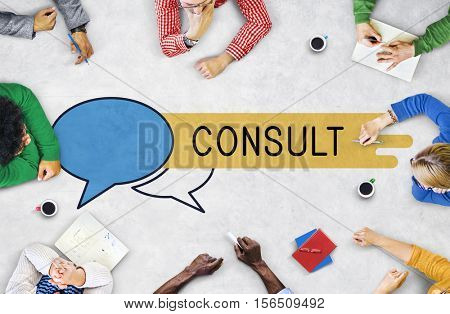 Consult Advice Assistance Suggestion Speech Bubble Concept