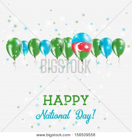 Azerbaijan Independence Day Sparkling Patriotic Poster. Happy Independence Day Card With Azerbaijan