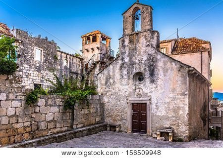 View at famous landmark Marco Polo birth house in old ancient town Korcula, Croatia.