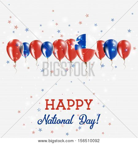 Chile Independence Day Sparkling Patriotic Poster. Happy Independence Day Card With Chile Flags, Con