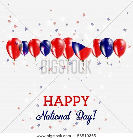 Czech Republic Independence Day Sparkling Patriotic Poster. Happy Independence Day Card With Czech R