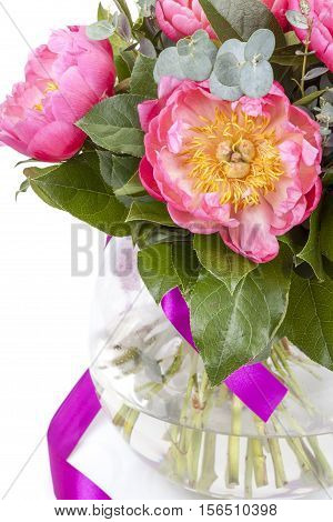 Amazing Bouquet Of Pink Pions Isolated On White Background