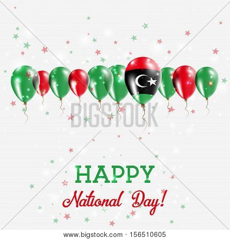 Libya Independence Day Sparkling Patriotic Poster. Happy Independence Day Card With Libya Flags, Con