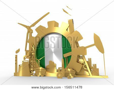Energy and Power icons set with Nigeria flag. Sustainable energy generation and heavy industry. 3D rendering. Golden material