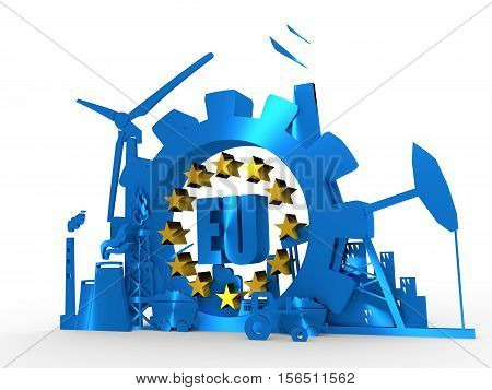Energy and Power icons set with EU text. Sustainable energy generation and heavy industry. 3D rendering. Golden material