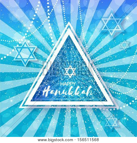 Happy Hanukkah with origami Magen David stars. Papercraft jewish holiday simbol on blue background with triangle frame for text. Vector design illustration