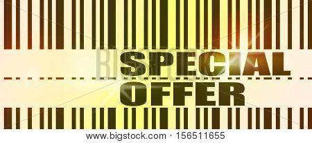 Special offer text and bar code. Retail business relative image