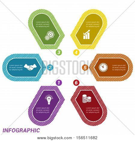 Colored Arrows arranged in circle pointing inside the circle. Template for infographic numbered six positions