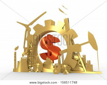 Energy and Power icons set with dollar sign . Sustainable energy generation and heavy industry. 3D rendering. Golden material