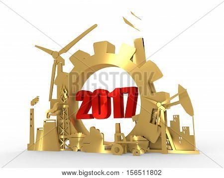 Energy and Power icons set with 2017 numbers. Sustainable energy generation and heavy industry. 3D rendering. Golden material