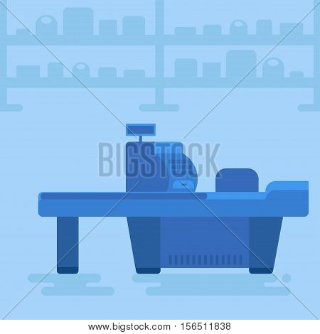 Store with customer cashier near cash desk. Store or market retail interior. Shopping concept illustration. People are paying purchase. Vector
